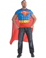 Superman Muscle Shirt Cape Adt