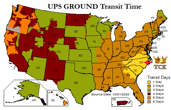 TCK UPS shipping map